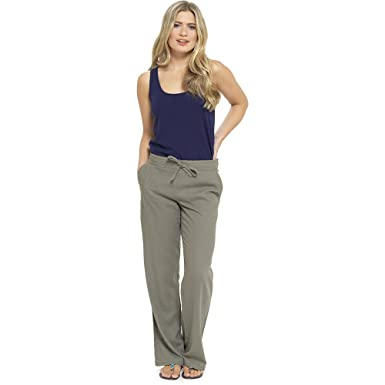 bc0b935bacd Womens Solid Colour Ribbed Waist Linen Trouser Bottoms Lounge Wear Pants   Amazon.co.uk  Clothing