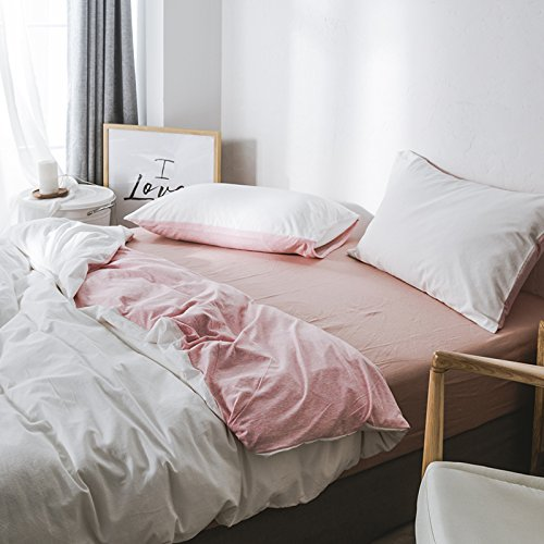 New Kexinfan Quilt Cover Washed Cotton Four-Piece Set Cotton Cotton Cotton Knit Cotton Bedding Sheets Quilt, Bed, Plain White Powder, 1.8M (6 Feet) Bed