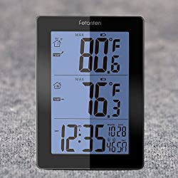 Wireless Weather Station with Outdoor Sensor, Digital Thermometer with Indoor Outdoor Temperature & Temp. Trend, Alarm, Calendar (Black)