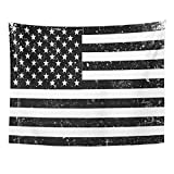 Emvency Tapestry Vintage Grunge Monochrome United States of America Flag Black and White with American Patriotic Stripes Home Decor Wall Hanging for Living Room Bedroom Dorm 60x80 inches