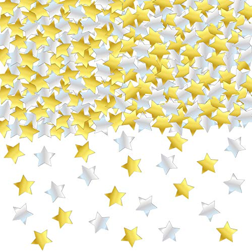 GOLD and SILVER STAR CONFETTI - 1.7 Oz Golden Silver Star Metallic Foil Sequin Confetti for Party | Wedding Decorations | Twinkle Twinkle Little Star Decorations | Adult Birthday Party | Arts Crafting ()