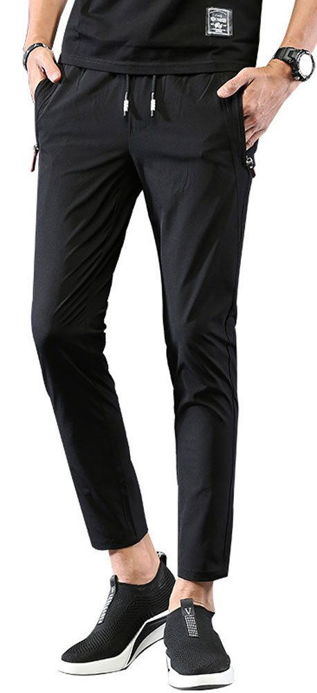 Plaid&Plain Men's Casual Drawstring Waist Tapered Ankle Length Cropped Pants Black 34