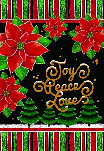 Lantern Hill Joy Peace Love Poinsettias Christmas Garden Flag; Double Sided; 12.5 x 18 inches; Winter Holiday Seasonal Decorative -