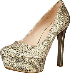 GUESS Women's Etten, Gold Glitter, Size 8.0 US