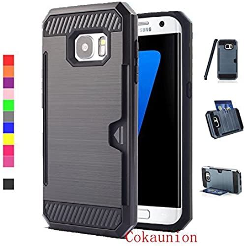 Cokaunion Card Slot Series Brushed Metal Texture Case for Samsung Galaxy S7 Edge (Black) Sales