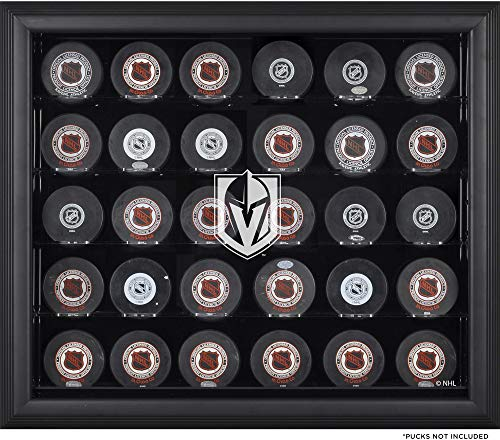 (Sports Memorabilia Vegas Golden Knights 30-Puck Black Display Case - Hockey Puck Free Standing Display Cases)
