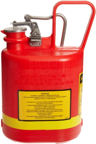 Justrite 14160 Type I Polyethylene Safety Can with Stainless Steel Fittings, 1 Gallon Capacity, Red by Justrite (Image #1)