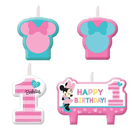 Minnie Mouse 1st Birthday Candles 4 Count Party Supplies Fun To Be One