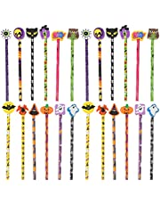 Cabilock 24Pcs Halloween Pencils Pumpkin Bat Spider Ghost Patterns Wood Wooden Drawing Pencils Colored Pencils with Rubber Eraser for Home School Halloween Easter Party Supplies Random Color