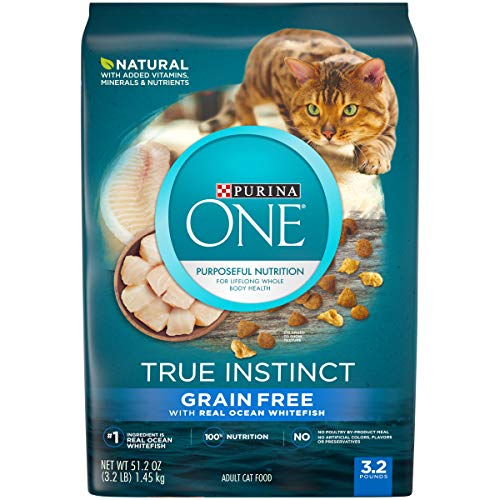 Purina ONE Natural, High Protein, Grain Free Dry Cat Food, True Instinct With Real Ocean Whitefish - 3.2 lb. Bag (Best Low Carb Cat Food)