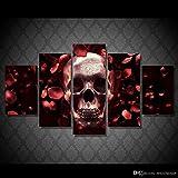 1 Conjunto de 5 pcs/Set No enmarcado rosas impresas HD skull plena res pintura lienzo decoración de la sala de impresión imprimir imagen de póster lienzo pinturas de paisajes