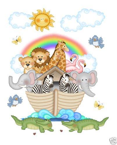 (Noahs Ark Wall Mural Decals Bible Story Baby Nursery Safari Animals Art)