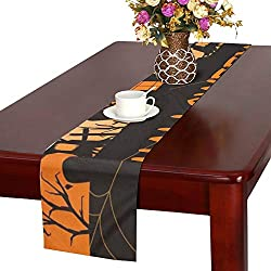 Halloween Party Invitation Greeting Card Template Table Runner, Kitchen Dining Table Runner 16 X 72 Inch for Dinner Parties, Events, Decor