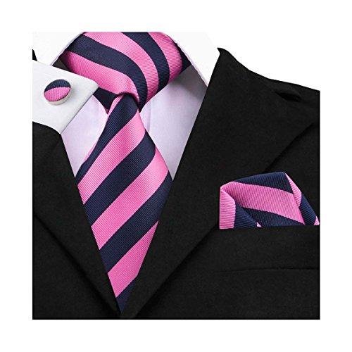 DiBanGu Pink Navy Stripe Tie Men's Formal Necktie Silk Tie and Pocket Square Cufflink Set (Necktie Cufflinks Stripes Set)