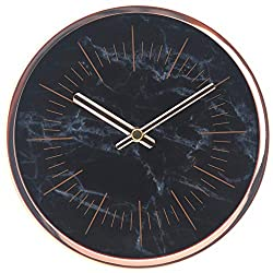 COMODO CASA Wall & Desk Clock- Metal Rose Gold Frame-Glass Cover-Non Ticking-Quartz Sweep-Silent 6 inch Marble Clock (Black)