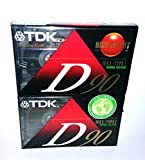 TDK Normal Bias D90 High Output Precision Rigid Construction Mechanism IEC I / Type I Normal Position - 2 Pack of Slimline EcoCase Audio Cassette Tapes