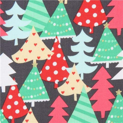 dark grey cotton fabric with Christmas trees in red, green etc, with gold metallic embellishment (per 0.5 yard unit) - Michael Miller Christmas Fabric