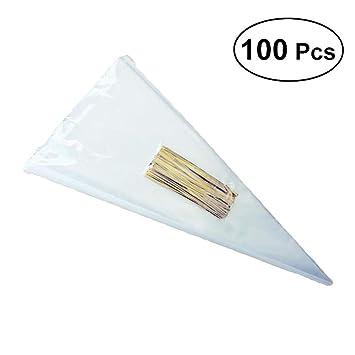 Bolsas transparentes de 100 piezas Cono Bolsas transparentes ...