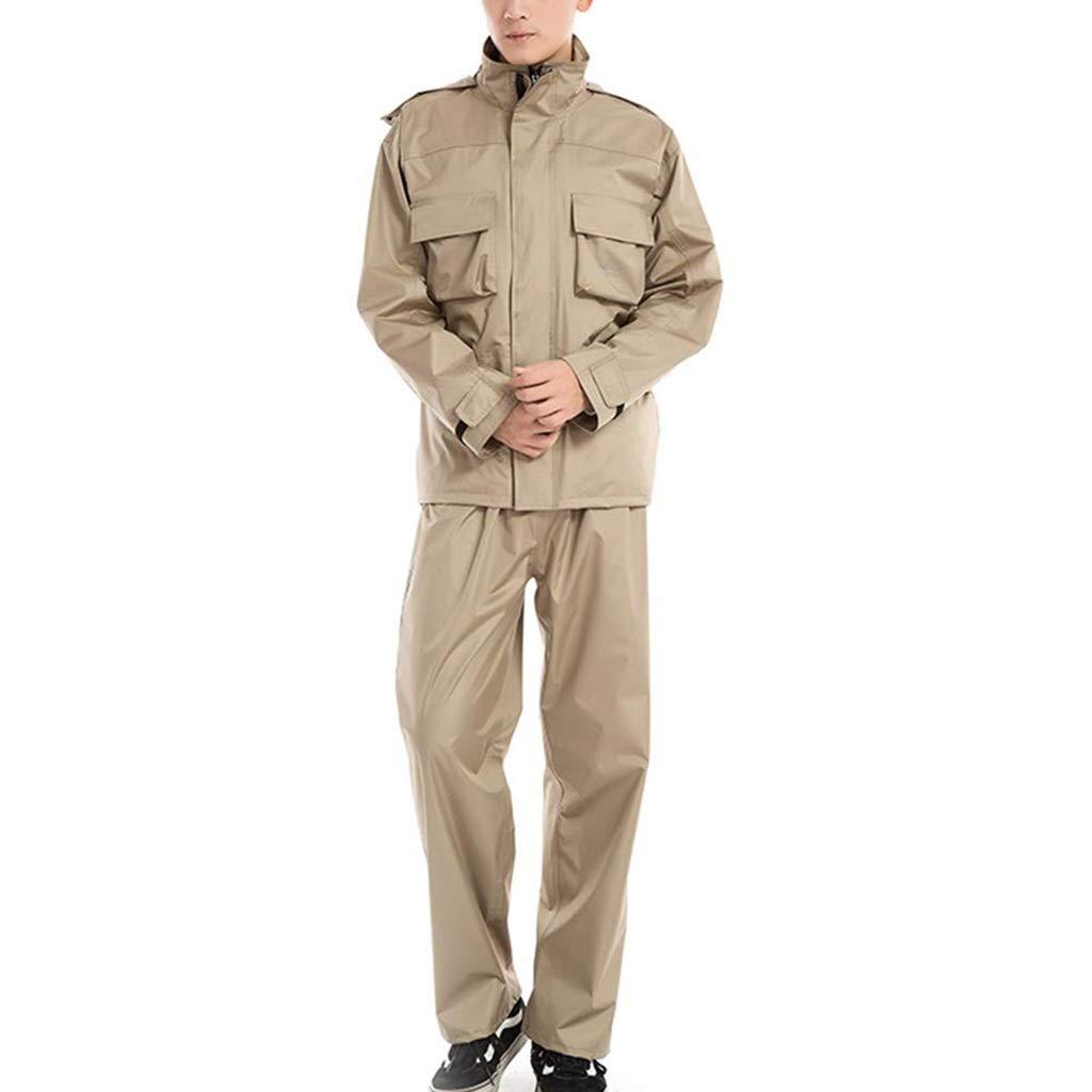 Beige petit LCPG Imperméable Costume Pluie imperméable à la Pluie Costume imperméable à la Veste Pantalon Ensemble Manteau de Pluie pour Hommes Salut Visibilité (Couleur   Beige, Taille   XL)