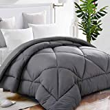 TEKAMON All Season King Comforter Soft Quilted Down Alternative Duvet Insert with Corner Tabs Summer Cooling 2100 Series,Luxury Fluffy Reversible Hotel Collection,Hypoallergenic,Grey,90 x 102 inches