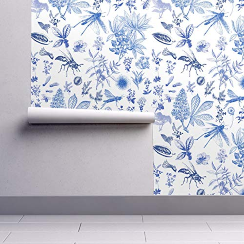 Peel-and-Stick Removable Wallpaper - Nature Bugs Botanical Blue Chinoiserie Floral Toile Inspired Bee by Juliaschumacher - 12in x 24in Woven Textured Peel-and-Stick Removable Wallpaper Test Swatch