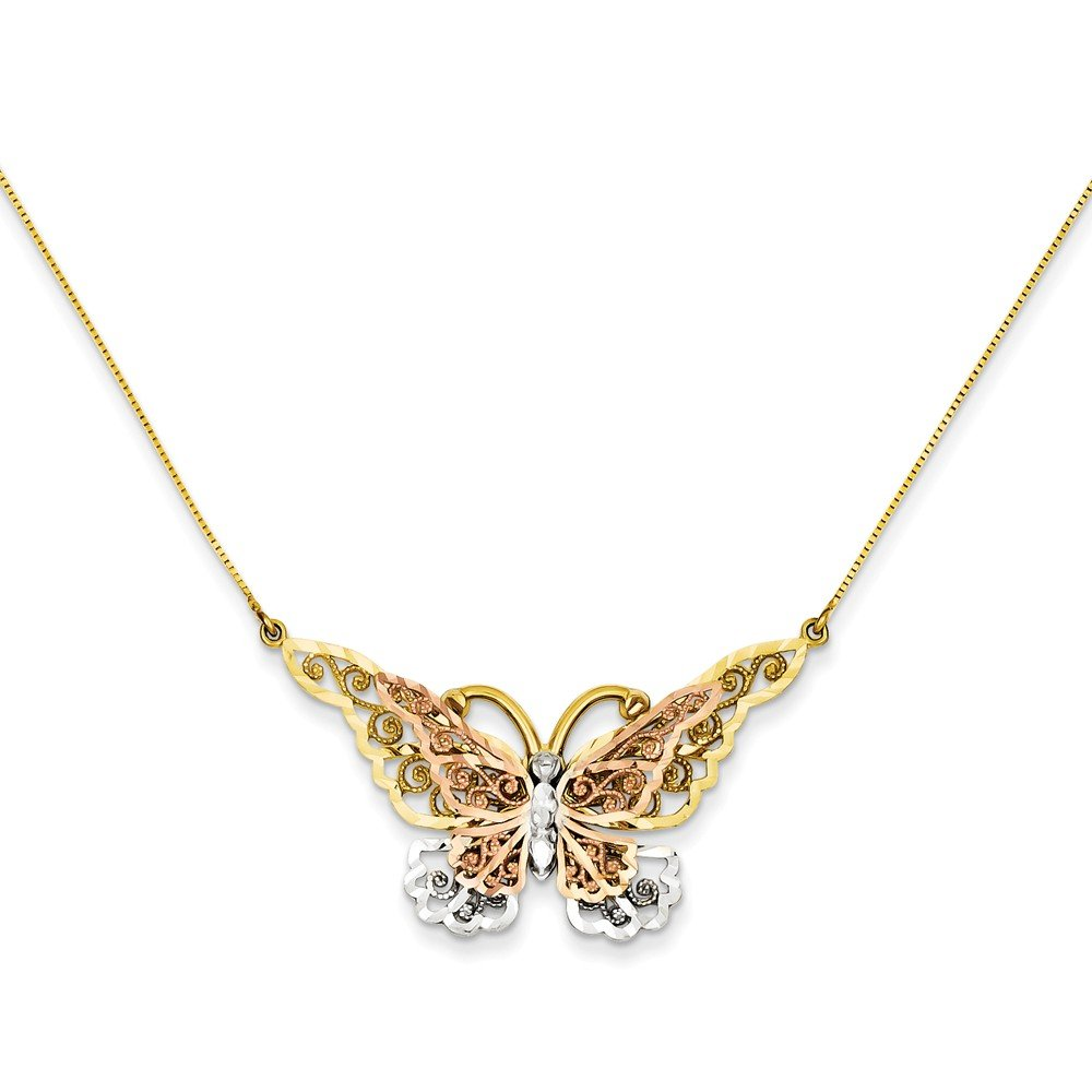 ICE CARATS 14k Yellow Rose Gold Butterfly Chain Necklace Animals/insect Fine Jewelry Gift For Women Heart by ICE CARATS (Image #3)