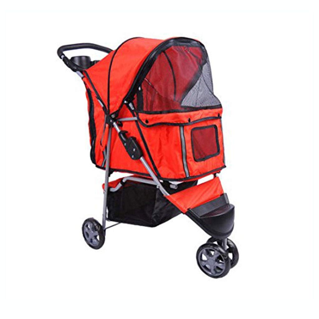 Red Lihuaa Pet Stroller Shock Two-way Aluminum Pet Stroller Four-wheel Collapsible Washable Dog Stroller Spot (color   Red)