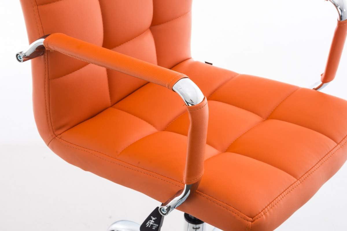CLP Silla De Oficina Deli V2 En Cuero Sintético   Silla Ejecutiva Giratoria & Regulable En Altura I Silla De Escritorio con Ruedas I Color: Blanco Naranja