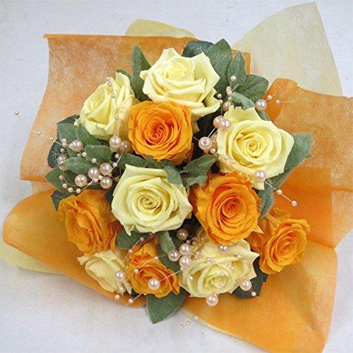 枯れない花 プリザーブドフラワー 花束(誕生日記念日お祝いプロポーズ等に最適) (モーニングイエロー) B01N4VJ9G7 モーニングイエロー モーニングイエロー