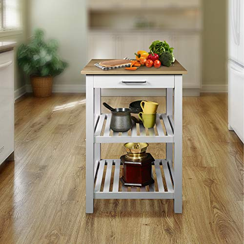Casual Home 373-01 Sunrise (Small) with Solid Maple Top Kitchen Island, 22.75'' W, Natural&White by Casual Home (Image #2)