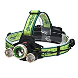 LED Headlamp, Paymenow 2000 Lumen CREE XML 3T6 4 Modes Zoom Headlight Helmet Light with 2 18650 Rechargeable Batteries,AC Charger, Car Charger for Hiking, Camping, Fishing, Hunting, Outdoor Activities