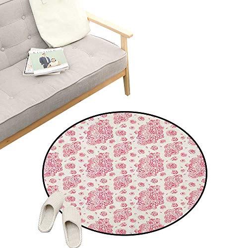 Victorian Corsage - Coral Custom Round Carpet ,Peonies English Roses Victorian Bouquet Corsage Blossoms Flourish, The Custom Round Non-Slip Doormat 31