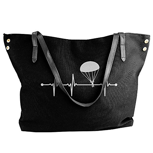 Black Heartbeat Tote Canvas Shoulder Bag Handbag Large Women's Hobo Skydiving wzqOPO