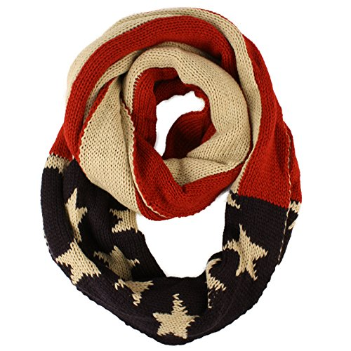 Unisex Thick Warm Vintage Patriotic America USA Flag Knit Loop Infinity Scarf (America Infinity Scarf)