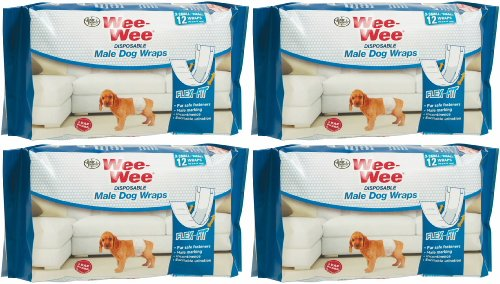 Four Paws Wee-Wee Disposable Male Dog Wraps, X-Small/Small 48ct (4 x 12ct) by Four Paws