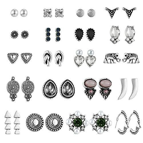 (UUS 20 Pairs Multiple Stud Earrings for Women Girls Cute Hoop Elegant Earrings Set Vintage Jewelry Set Summer Journey Birthday Gift)