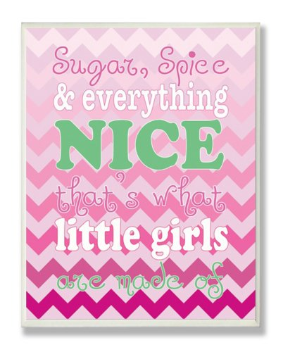 (The Kids Room by Stupell Sugar and Spice and Everything Nice Nursery Rhyme on Pink Chevron Rectangle Wall Plaque)