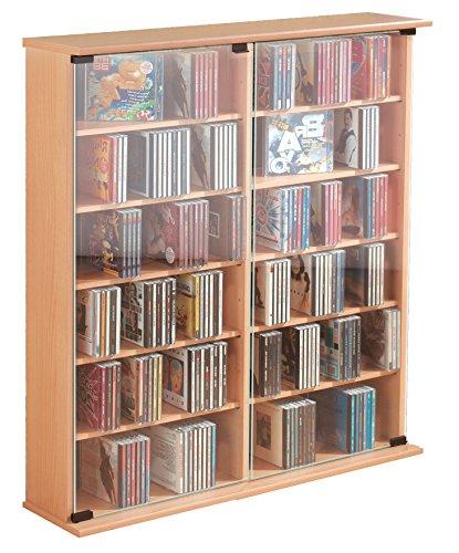 ONUX CD/DVD Möbel Schrank Regal Archivierungssystem Sideboard Turm Ablage Buche