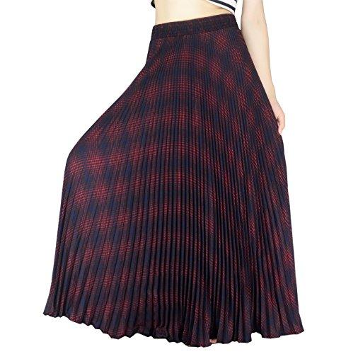 YSJ Womens Plaid Long Maxi Skirt - Bohemian Chiffon 360 Sunray Pleated Full Skirts Red -