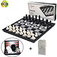 Magnetic Chess Set for Kids and Adults, Joneytech 12.5 inch Travel Portable Folding Chess Sets Game Board with 3 in 1 Chess