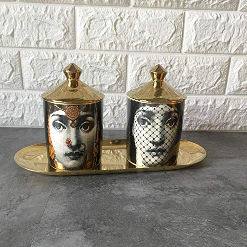 Roza Candle Holders - Fornasetti Candle Holder DIY Handmade Candles Jar Retro Lina Face Storage Bin Ceramic Caft Home Decoration Jewerlly Storage Box 2PCs]()