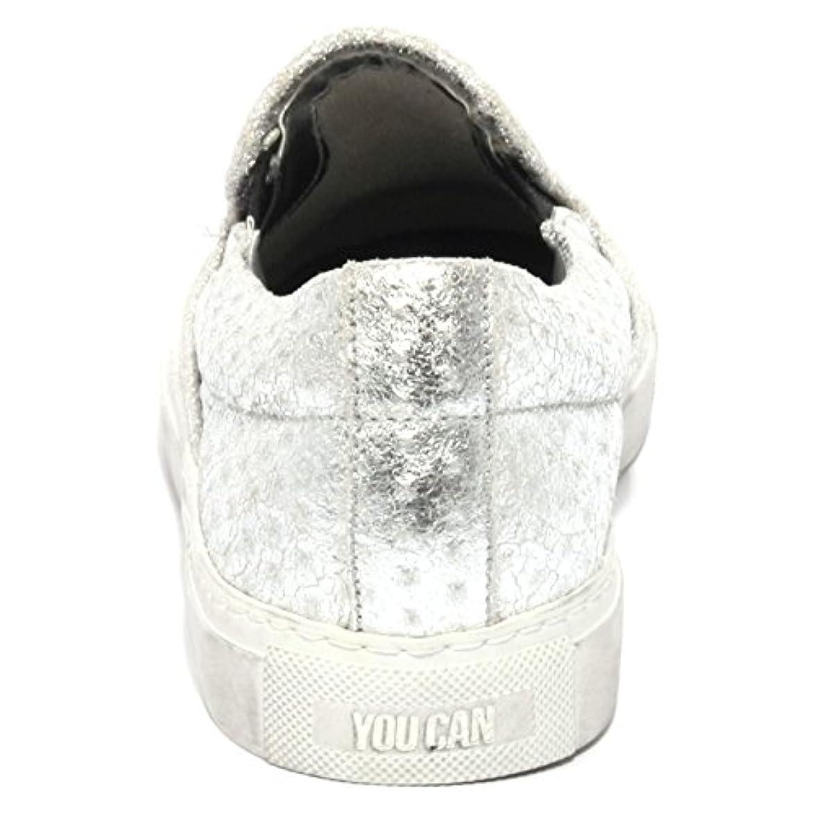P448 B1095 Sneaker Donna E6 Slipon Scarpa Argento Shoes Women