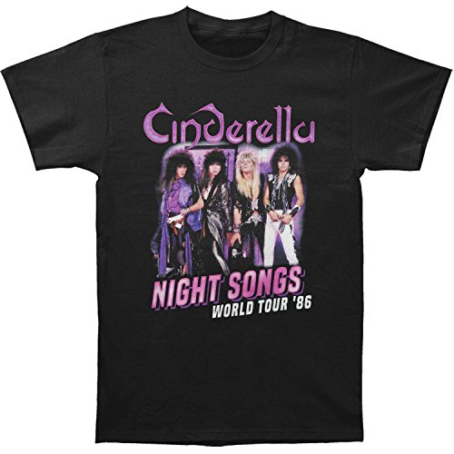 Cinderella Rock Band Night Songs Tour Black 2-Sided Adult T-Shirt (Tour Band T-shirt)
