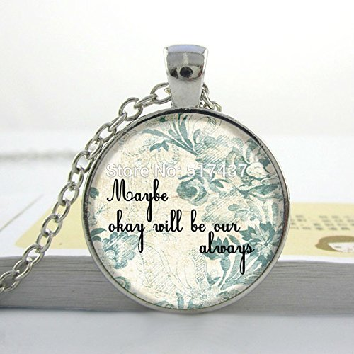 Pretty Lee Hot Glass Dome Jewelryart Necklacebook Quote Charm Necklace - The Fault In Our Stars - John Greenglass Dome Necklace Vintage