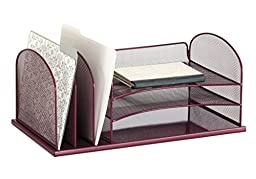 Safco Products 3254WE Onyx Mesh Desktop Organizer with 3 Vertical/3 Horizontal Sections, Wine