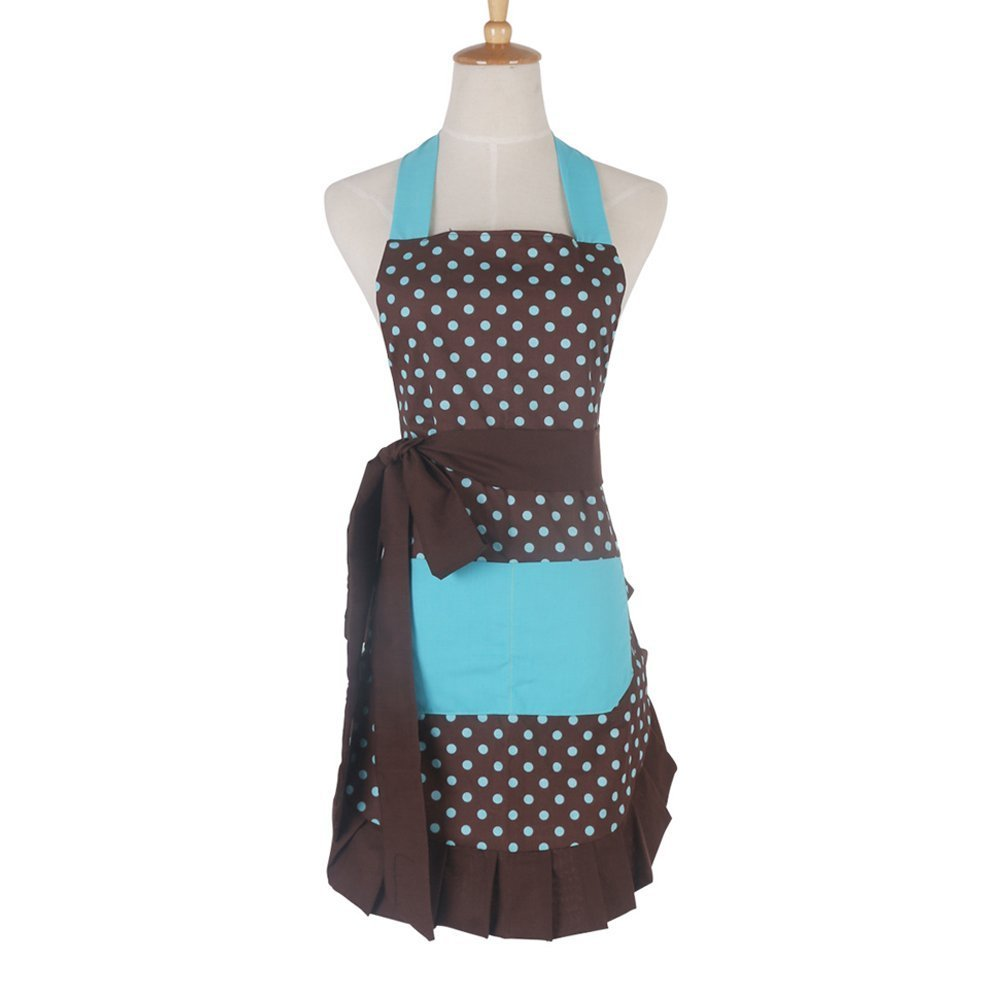 """Qureal Cotton Women Apron Dress with Extra Long Ties, Kitchen Vintage Cute Apron for Cooking, Baking, Crafting, Perfect Mother's Day and Holiday Gifts 29 x 21"""" (brown)"""