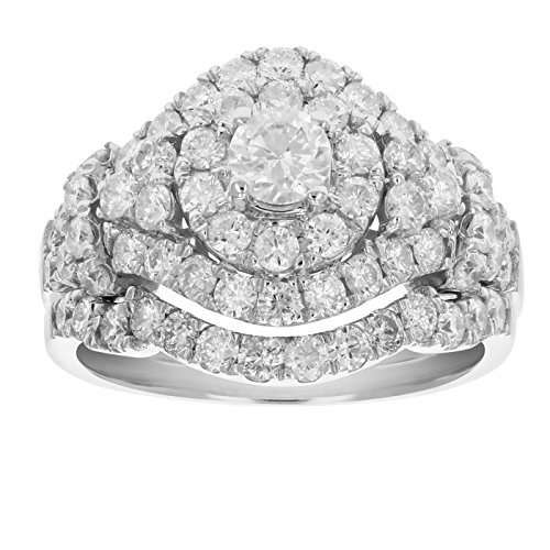 2 CT Diamond Wedding Engagement Ring Set 14K White Gold Size 6.5 (2 Ct Diamond Wedding Rings)