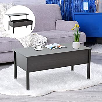 HomCom Lift Top Storage Coffee Table   Coffee Brown Part 98
