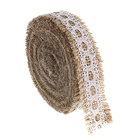 Jute Trim Burlap Ribbon, 10 Meters Natural Fringe Tape with Lace for Vintage/Rustic Themed Wedding Craft - 2.5CM