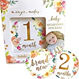 Baby Monthly Milestone Stickers | 16 Floral Belly Stickers for Girls 0-12 Months | Premium Gold Metallic Design | Perfect for Baby Shower Gifts, Registry, First Year Newborn Photography | Angie Makes